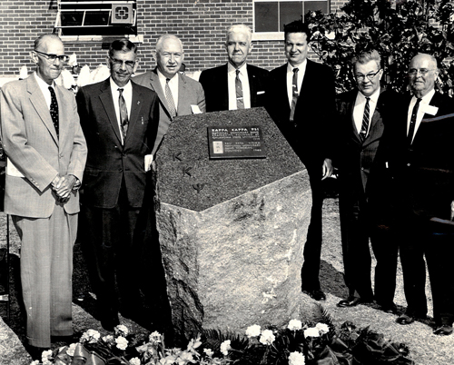 KKPsi Founders with OSU Executive VP Dr. Robert MacVicar at Dedication of the National Shrine (March 26, 1960)